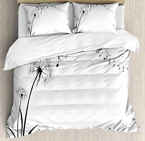 TAPIDNO Bettbezug Set 3D Musik-Bettbezug-Set-Flying-Dandelions-with-Notes-Musik-Sommer-Frühling-Wiese-Silhouette-Weichheit-Einfach-Dekorativ 200cm x 200cm