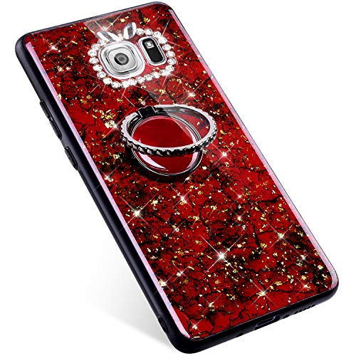 Uposao Samsung Galaxy S6 Coque Bling Strass Paillette Diamant Glitter Brillante Luxe Coque + Bague en 360 Rotation,Souple Hybrid Silicone TPU Antichoc Bumper Housse Etui de Protection,Rouge