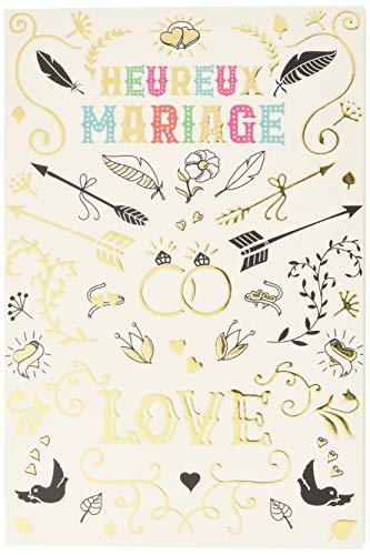 Wenskaart, bruiloft, felicitatie, liefde met verguld verguld, trouwringen, koppels, verlovingsring, hart, pijlen, vogels, duiven, veren, symbolen, gemaakt in Frankrijk