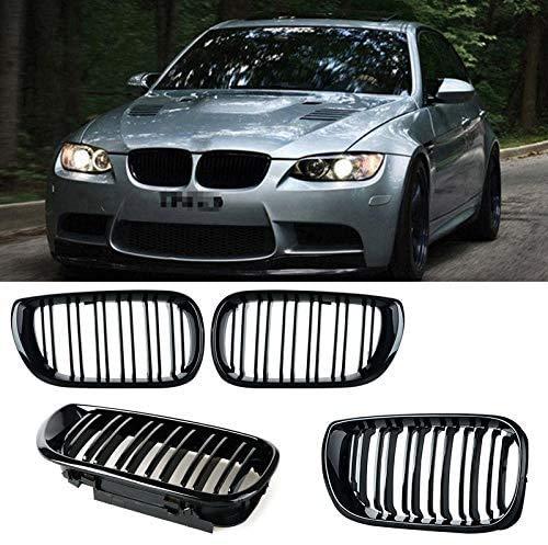 HYNB 2 stuks voorste nier dubbele lamellen grill voor BMW 3-serie E46 4-deurs 2002-2005 glanzend zwart