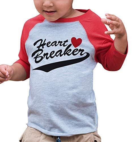 7 ate 9 Apparel Kids Heart Breaker Happy Valentine's Day 5T Red Raglan