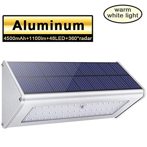 Solar Lights Outdoor 48 LED 1100lm 4500mAh Aluminum Alloy Housing 360