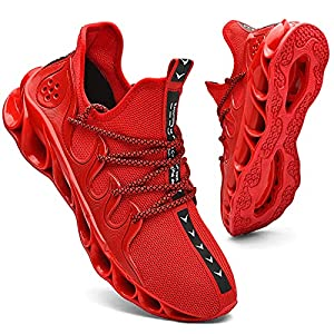 Mens Running Sneakers Slip on Walking Shoes Tennis Comfort Work Soft Sole Trainers Red