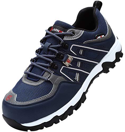 LARNMERN Arbeitsschuhe Herren,Sicherheit Stahlkappe Sicherheitsschuhe Stahlsohle Anti-Perforations Luftdurchlässige Schuhe von Arbeiten (46 EU,Blau)