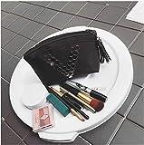 JSJJAUJ Bolso de Cosméticos Mujeres Viajes Black Letra V Cosmetic Bag Cremallera Maquillaje PU Cuero Maquillaje Estuche Organizador Almacenamiento Bolsa Lavado Belleza Lavado (Color : 1)