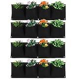 Atyhao Macetero de Pared Vertical para Colgar al Aire Libre, 4 Piezas, 4 Bolsillos, Bolsa de Cultivo de Plantas, montado en la Pared, Reutilizable, de Fieltro degradable, macetero para jardín(Negro)