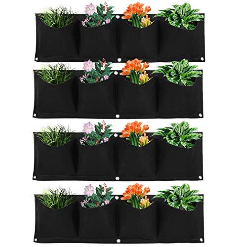 HERCHR Colgar en la Pared Bolsas de Plantación 4 Piezas, Jardin Vertical Pared con 16 Bolsillos, Planta Que Cuelga Bolsos de la Flor Que Cuelgan para Balcón Pared de la Pared Jardín