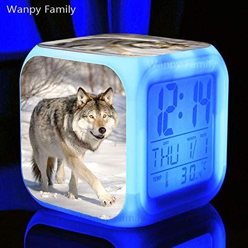 Zhuhuimin kinderdagcadeau zoals de Timberwolves belen de wekker, digitaal, multifunctioneel, met kleurverandering
