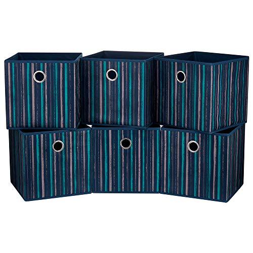 HSDT 6 cajas de almacenamiento, 28 x 28 x 28 cm, tela de PET con rayas artísticas, 1 orificio de metal, plegable, compatible con el administrador de cubos, QY-SC17-6