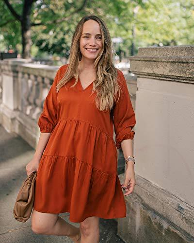 The Drop Robe pour Femme, à Volants, avec Manches Raglan, Cannelle, par @graceatwood