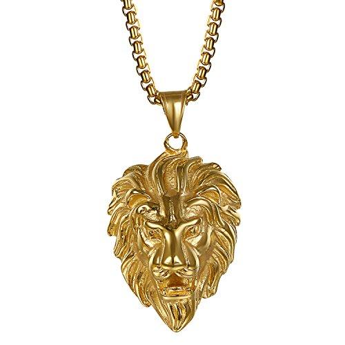 Cupimatch Uomo Collana Acciaio Inossidabile con Pendente Testa di Leone Fashion Oro