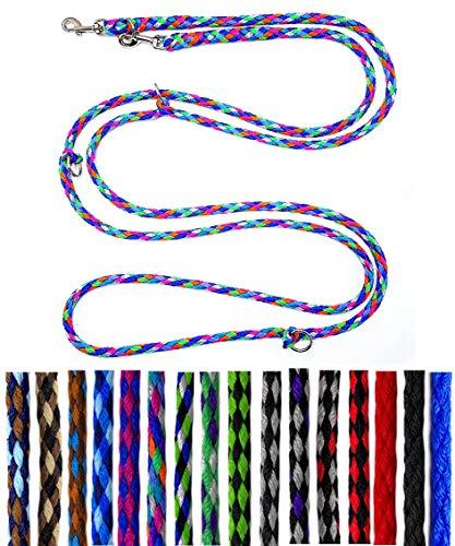 Hundeleine kleine Hunde bis 15 Kg / Doppelleine 4-Fach verstellbar 2,40m / 2,80m / 3,50m Führleine sehr leicht & robust (3,50m 4-Fach verstellbar, Florida (7 Pastellfarben))