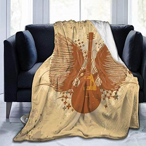 Fluffy Blanket,Electric Guitar with Wings Design On Grungy Background,Super Ultra-Soft Micro Fleece Blanket Baby Blanket Bedroom Bed Quilt TV Bed Blanket 60'x50'