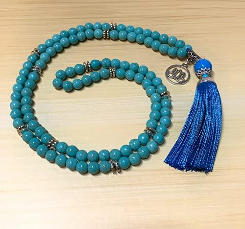 Japamala Turquesa 108 Contas Pedras Colar Meditação Mantras