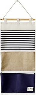 TopAAA Linen Cotton Fabric Wall Door Hanging Organizer Hanging Storage Bag Case 3 Pockets (Navy Blue)