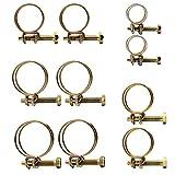 Hseamall 50 PCS Réglable Double Fil Tuyaux Clips Clamp 5Size Acier Fil Tube Tuyau Pince Vis Assortiment Kit