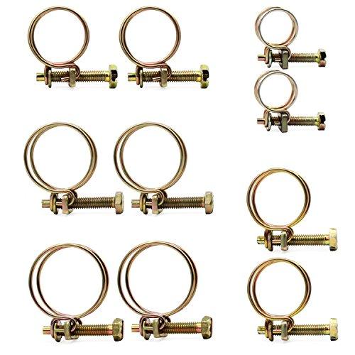 HSeaMall 50PCS justierbare doppelte Draht-Schlauch-Klipp-Klemme 5Size Stahldraht-Rohr-Rohr-Klipp-Schrauben-Sortiment-Installationssatz