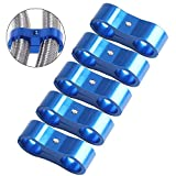 AN6 Hose Separator Aluminum Clamp - Fuel Line Fitting Adapter Mounting Clamps Great for 3/8 oil water Hose pipe-5Pcs/Pack blue