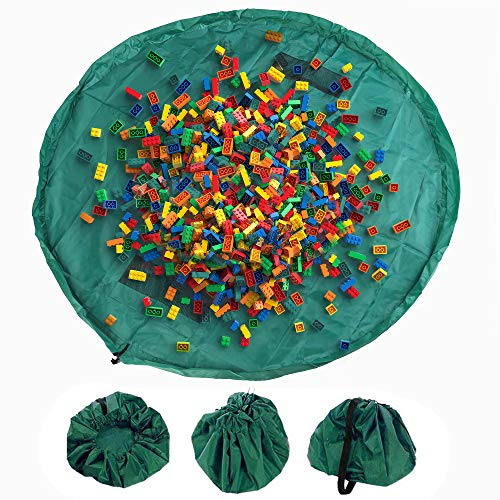 Spielzeug Speicher Tasche Kinder Aufräumsack Spieldecke Spielmatte Toy Storage Bag für Kinderzimmer Home Picknick Strand Teppich 150cm Green