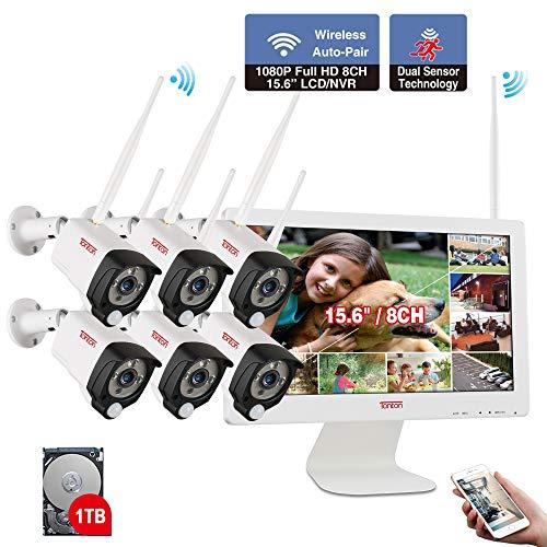 【Audioaufnahme & PIR Wärmesensor】 Tonton 1080P Audio Wireless Überwachungskamera Set 8CH 15.6