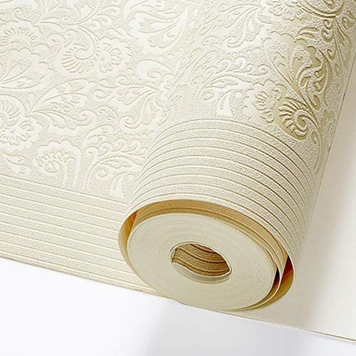 jidan Beige Gelb Embossed Texture Floral gestreifte Tapete Rolle for Wand-Schlafzimmer Modern Luxury Wand-Papier Wohnkultur Wohnzimmer (Color : J02101 Cream, Dimensions : 10mx53cm)