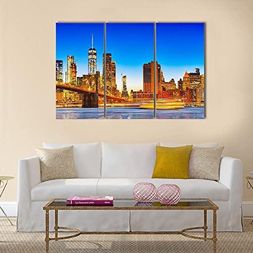 Frames,Cuadro en lienzo 3 partes-Panorámico,Cuadro impresión,Cuadro decoración,Canvas 50cmx70cmx3(Marco),regalo,Pared Arte,salón decoración Lower Manhattan y Brooklyn Bridge a través East River