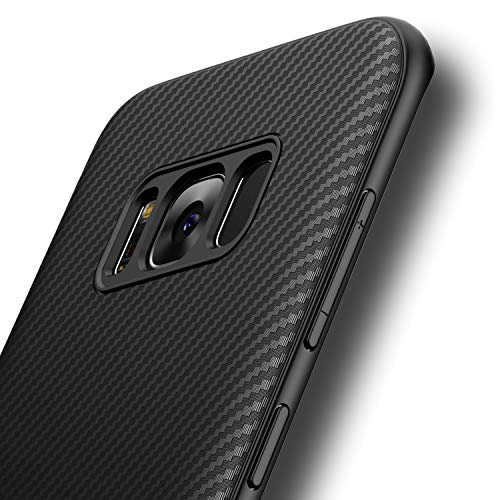 Losvick Coque pour Samsung Galaxy S8 Plus, Silicone Souple Ultra Fine TPU Housse Anti-Choc Anti-Rayure Bumper Air Cushion Protection Cover Fibre de Carbone Etui Coque pour Galaxy S8 Plus - Noir