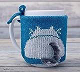 Cat Lover Tea Cup Cozy Greenish Blue Teacup Sweater Cosy Warmer Knit Gift Kitty Coffee Sleeve Gray Kitten