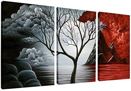 Wieco Art - The Cloud Tree 3 Piece Large Modern Gallery Wrapped Giclee Canvas Prints Abstract Seascape Paintings Repr...