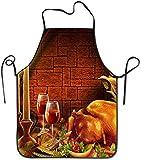 Tabliers de cuisine personnalisés Thanksgiving Dinde Vin Rouge Overlock Lavable Surjeteux Tablier de corde durable et lavable en machine pour hommes pour la cuisson au barbecue Travailler Griller Cuis