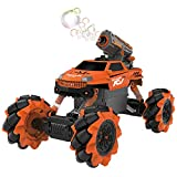 Vaiyer RC Rechargeable Remote Control Stunt Car for Kids with 2-in-1 Interchangeable Toy Bubble Blaster and Water Gun Tops, Rock Crawler Outdoor Off Road Vehicle with 360 Degree Movement (Orange)