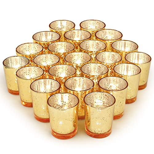 Volens Gold Party Decorations 72pcs, Mercury Glass Gold Votive Candle Holders Set for Wedding, Bridal and Baby Shower