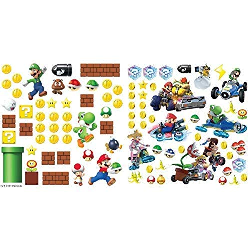 RoomMates Nintendo Super Mario Build A Scene Peel and Stick Wall Decals and RoomMates Ninetendo Mario Kart 8 Peel and Stick Wall Decals