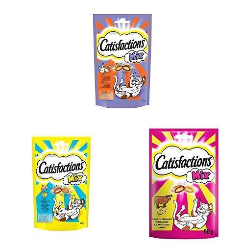 Scopri offerta per Catisfactions Mix Snack per Gatto, 3 gusti diversi, 18 Confezioni da 60g
