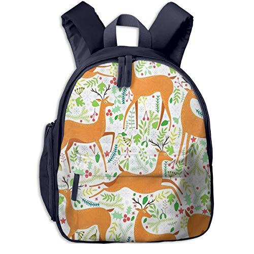 Kinderrucksack Hirsch Pflanzen Floral Seamless Babyrucksack Süßer Schultasche für Kinder 2-5 Jahre