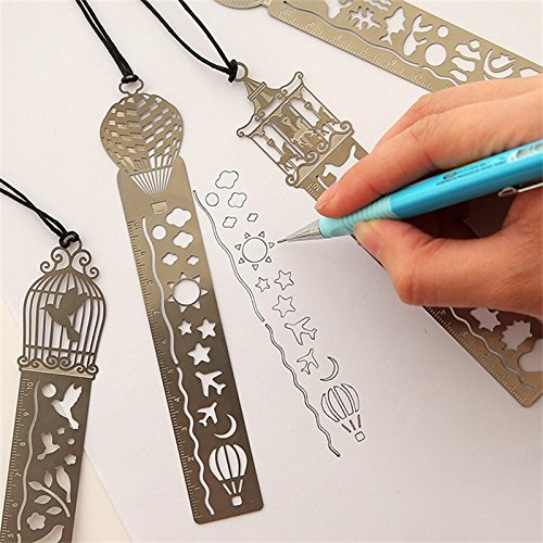 ZhenPony Metal Bookmark Ruler Set of 4 Cute Kawaii Creative Trojan Birdcage Hollow Metal Bookmark Ruler For Art Craft/DIY Photo Album/Notebook/Diary Kids Student Gift School Supplies Bookmark Rulers F