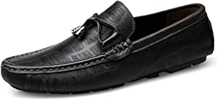 Men Drive Loafers Casual Lite And Unsubdivided Rustproof Metal Embossing Boat Moccasins casual shoes (Color : Black, Size : 40 EU)
