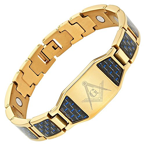 MasonicMan Men's Masonic Magnetic Titanium Bracelet with Blue Carbon Fiber