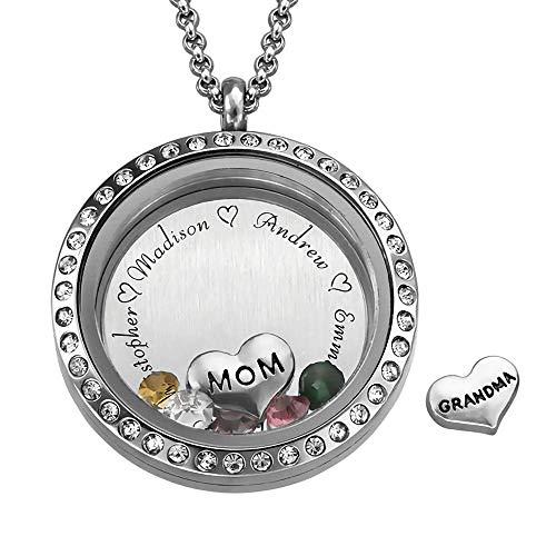 Charm Medaillon Namenskette Silber für Mütter mit 5 Namens & 5 Geburtssteine Muttertagsgeschenk basteln mit Kindern