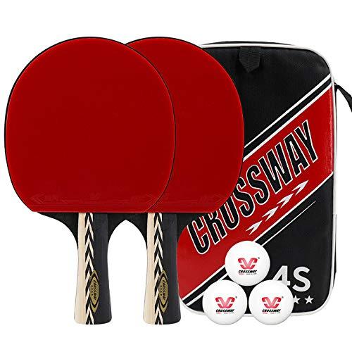 X-xyA Bats de Tenis de Mesa de 4 Estrellas Profesional con 3 Bolas y Raqueta de Ping Pong,2 x shakehand