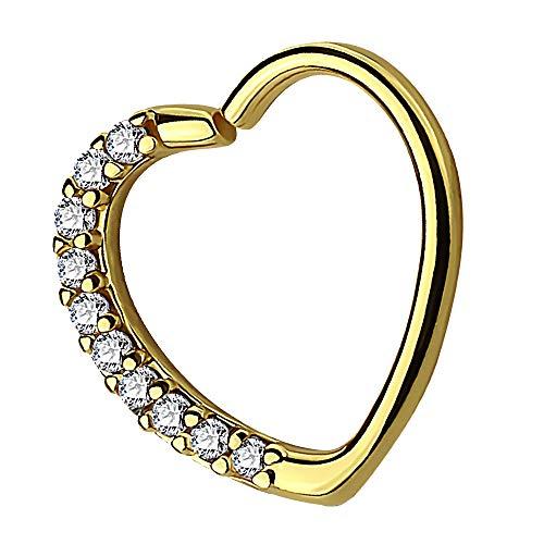 Piersando Continuous Piercing Ring Septum Tragus Helix Ohr Nase Lippe Knorpel Horseshoe Hufeisen Herz mit Strass Kristall Glitzer Gold rechts