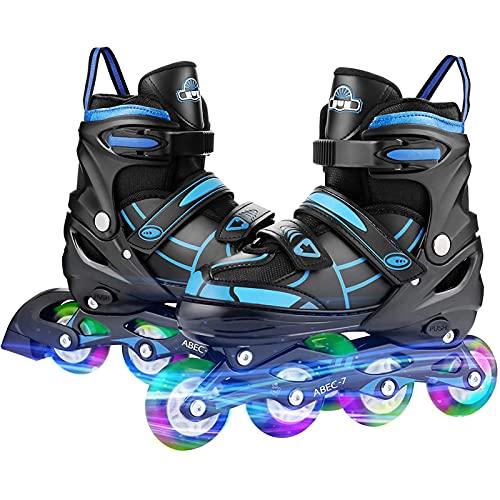 Inliner Rollen Verstellbare Inline Skates Mädchen Inline Skates, Leucht PU Räder Inline-Skates, ABEC7 Rollen Inliner Ideal für Anfänger, Komfortable Rollschuhe, Inliner für Mädchen und Jungen