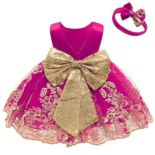 FYMNSI Vestido de fiesta para bebé, para cumpleaños, bautizo, sin espalda, bordado, sin mangas, formal, con cinta para la frente. Rosa 2-3 Años