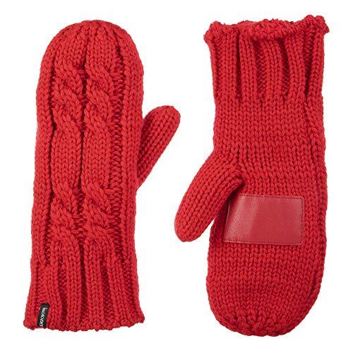 Isotoner Damen Grobstrick-Fäustlinge für kaltes Wetter mit warmem, weichem Futter - Rot - Einheitsgröße