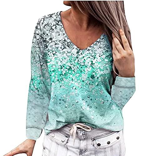 Camiseta de manga larga para mujer, cuello en V, holgada, informal, túnica, estampado de flores, tops, blusa, tops para mujeres adolescentes, verde, S