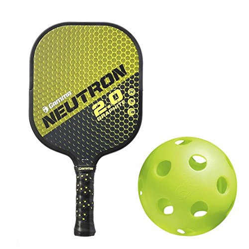 Gamma Neutron 2.0 Black/Yellow Graphite and Nomex Honeycomb Pickleball Paddle Kit Bundled with (Set of 4) Jugs Indoor Pickleball Balls (Best Paddle for Spin)