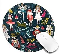 女性のくるみ割り人形バレエクリスマスダンスマウスパッド、デスクトップ、コンピューター、PC、ラップトップ用のスリップ防止天然ゴムマウスマット、家庭/オフィス作業およびゲーム用20cm