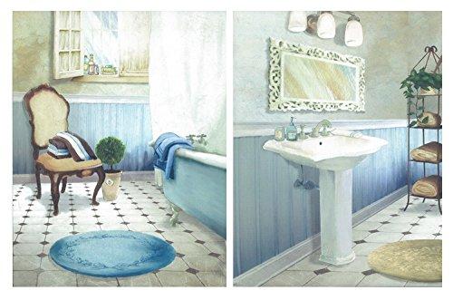 Cuadro Decorativo de baño en Tonos Azules Set de 2 Cuadros de 19 cm x 25 cm x 4 mm unid. Adhesivo FÁCIL COLGADO. Adorno Decorativo. Decoración Pared hogar