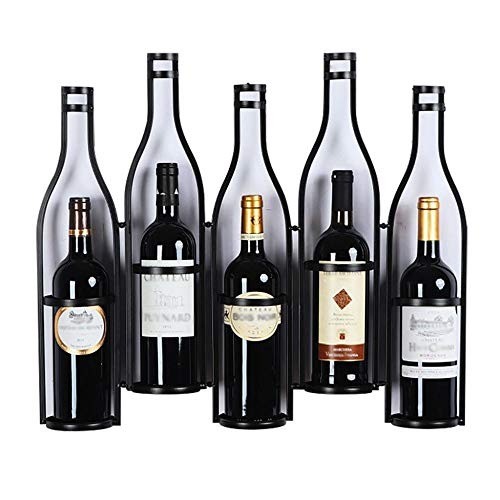 Estante de exhibición Creativo de Botellas de Vino-Estante de Vino montado en la Pared-Estante Organizador de Almacenamiento de estantes de Pared - Estante de Vino Colgante-Negro_W25.5XD3.9XH20in