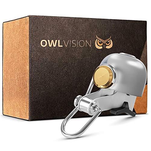 OWL VISION - Hochwertige Fahrradklingel Stylus [universal passend] Fahrrad Klingel Retro mit sehr klarem Klang - Premium Fahrradglocke für Mountainbike Rennrad - MTB & Fahrrad Zubehör - Klingel Glocke Ring (silber)